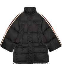 gucci padded nylon cape jacket with gucci stripe - black