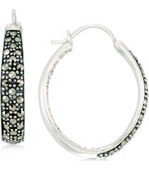 marcasite & crystal in & out hoop earrings in sterling silver