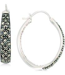 marcasite & crystal in & out hoop earrings in sterling silver