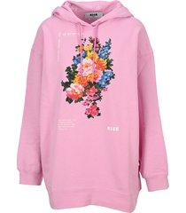 msgm floral print hoodie