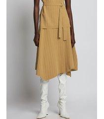 proenza schouler chalk stripe knit wrap skirt 10965 camel/white/brown m