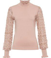 maglione a collo alto con maniche in chiffon (rosa) - bodyflirt