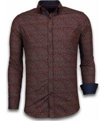 overhemd lange mouw tony backer blouse dotted leaves pattern