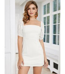 patchwork blanco sin respaldo hueco diseño cuadrado cuello mangas de soplo vestido
