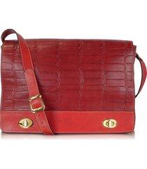 robe di firenze designer handbags, burgundy and red croco stamped italian leather shoulder bag