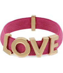 bcbgeneration gold-tone love fabric stretch bracelet