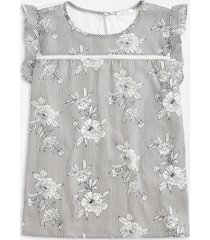 maurices plus size womens white floral ruffle sleeve blouse