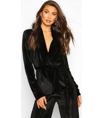 tall belted velvet blazer, black
