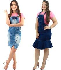 kit de 2 jardineiras jeans anagrom modelo salopete azul