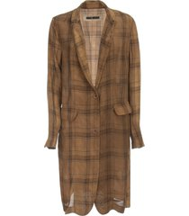 uma wang katia checked long viscose jacket