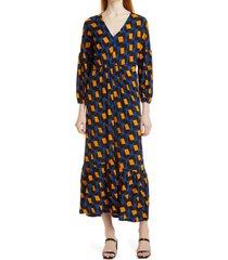 women's dvf ebony geo print long sleeve maxi dress, size small - blue
