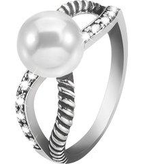 anello in argento 925 rodiato, perla e zirconi per donna