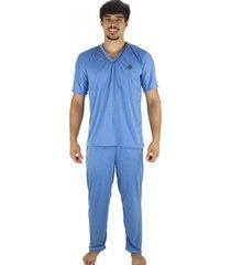 pijama mvb modas longo adulto  manga curta e calã§a azul claro - azul - masculino - poliã©ster - dafiti