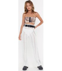 womens cut knit out pointelle top and pants set - cream