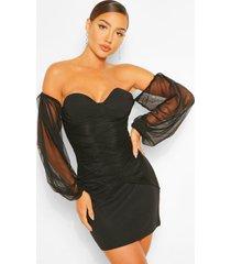 bodycon-mini-jurk van mesh met blote schouder, zwart