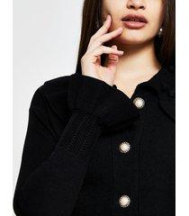 river island womens black knitted frill collar cardigan