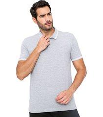 camisa polo forum reta frisos cinza - cinza - masculino - algodã£o - dafiti