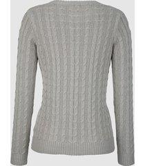tröja med flätmönster dress in ljusgrå