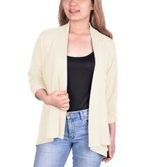 ny collection petite open-front waffle-weave cardigan
