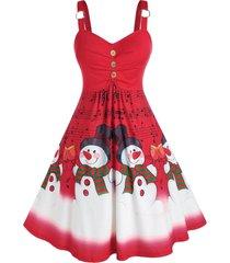 plus size christmas musical notes snowman a line dress