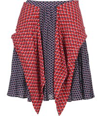 kenzo panelled geometric-print skirt