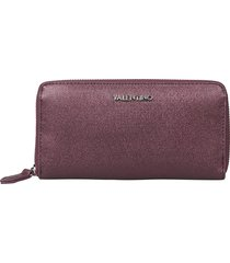 valentino by mario valentino designer wallets, marilyn metallic grainy eco leather zip-around wallet
