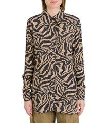 ganni optical crepe shirt