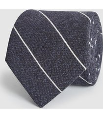 reiss bowmant - cotton wool blend striped tie in navy, mens