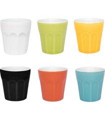 conjunto de 6 copos pequenos 90ml coloridos - multicolorido - dafiti
