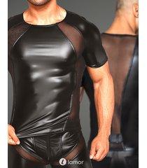 * noir handmade heren shirt met mesh inzet
