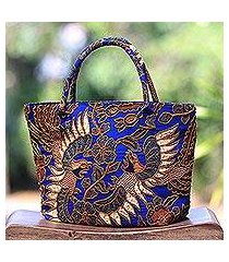 beaded cotton batik tote handbag 'glorious java' (indonesia)