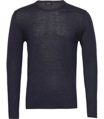 newman perfect linen merino gebreide trui met ronde kraag blauw j. lindeberg