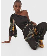 macacão dress to jogger ombro único paradiso preto - kanui
