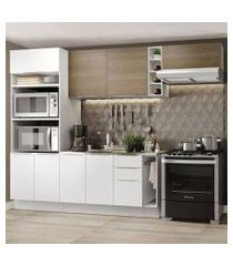 cozinha completa madesa stella 290002 com armário e balcão branco/rustic cor:branco/branco/rustic