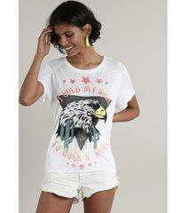 """blusa feminina gavião """"rock'n roll"""" com abertura e amarração manga curta decote redondo off white"""