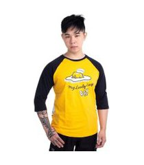 camiseta gudetama lazy amarelo