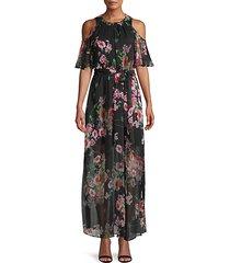 moody floral-print chiffon maxi dress