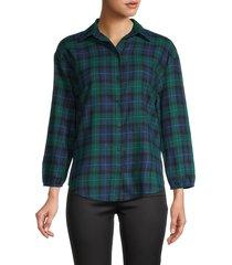 love ady women's plaid cotton shirt - blue - size m