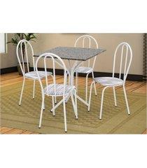 jogo de mesa artefamol e 04 cadeiras thais com tampo em mdf branca com assento linho