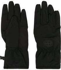 stone island logo patch gloves - black