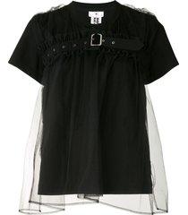comme des garçons noir kei ninomiya belted tulle overlay t-shirt -