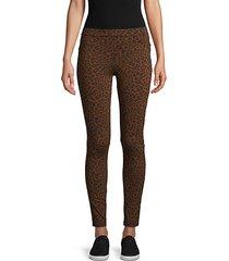 leopard-print stretch pants