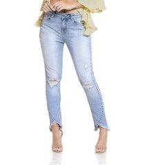 calça jeans denim zero girlfriend detalhe barra azul