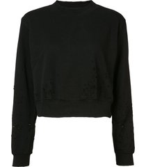 cotton citizen distressed cropped sweater - black