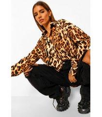 oversized luipaardprint blouse, brown