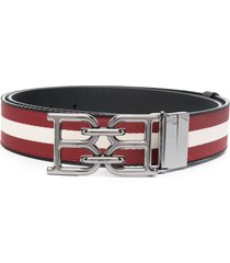 bally b-chain buckled striped belt - red