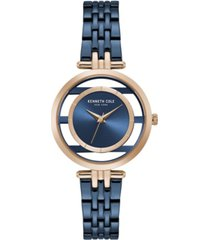 kenneth cole new york women's blue stainless steel bracelet watch, 33mm