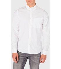 camisa calvin klein jeans oxford solid slim non stretch blanco - calce stretch