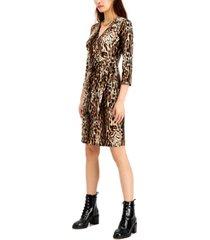 inc animal-print faux-wrap dress, created for macy's