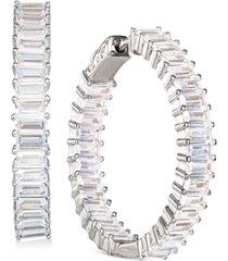 """cubic zirconia medium baguette hoop earrings in sterling silver, 1.21"""""""